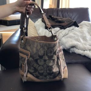 Coach bucket leather tote